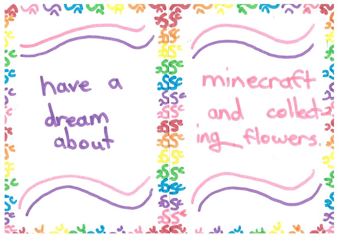 Vivienne dreams of Minecraft and picking flowers